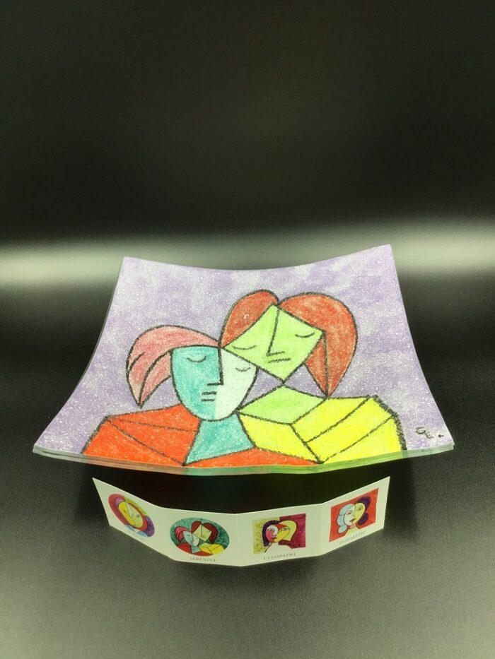 Centrotavola in vetrofusione dipinto a mano