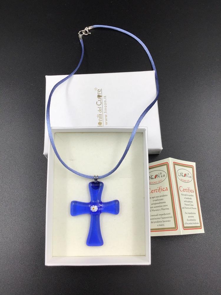 Croce pendente con murrina in vetro di Murano fatto a mano