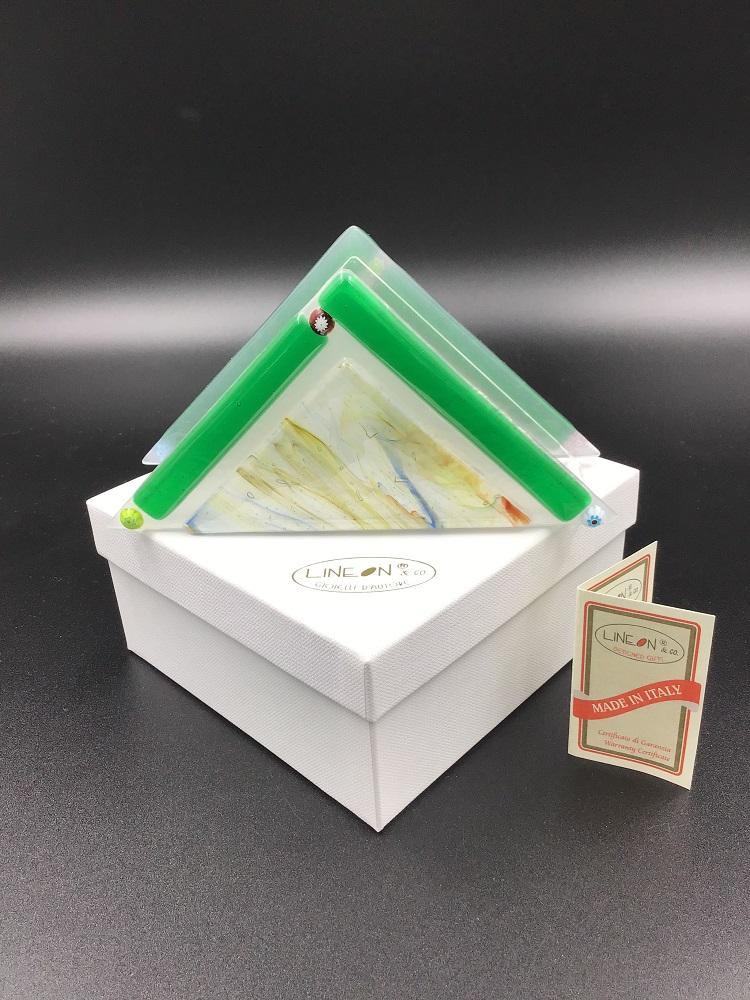 Portatovagliolo: Collezione Arlecchino realizzata artigianalmente nel nostro laboratorio con autentico vetro di Murano e murrina