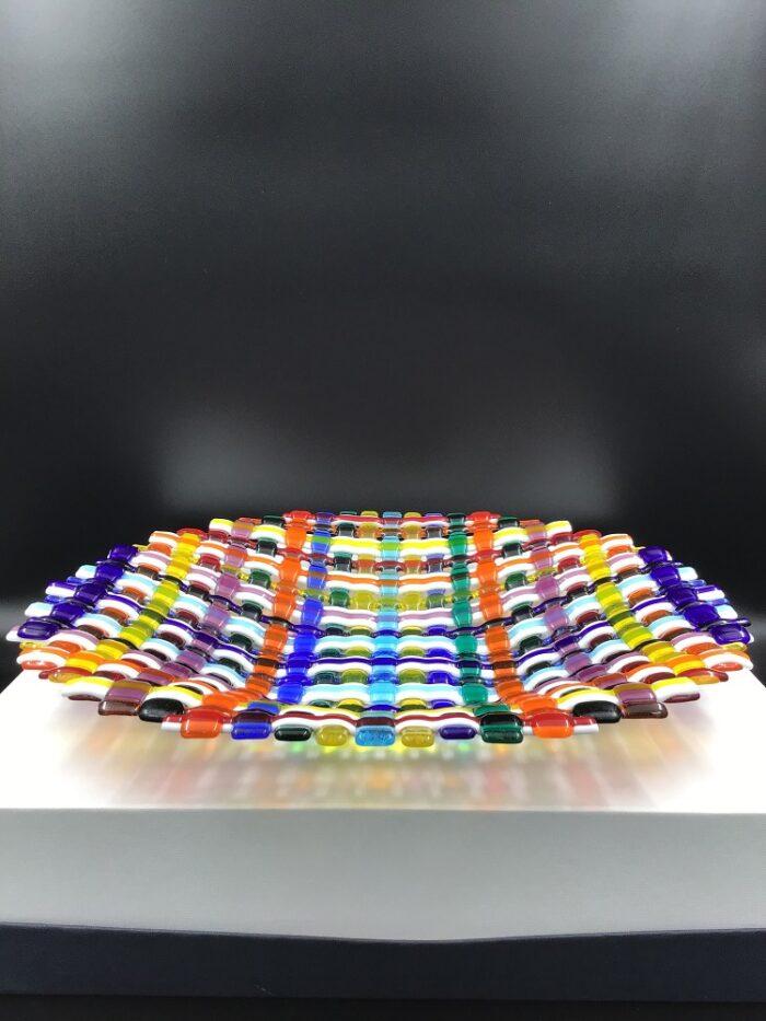 Centrotavola in vetro di Murano realizzato a mano ad intreccio